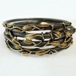 18 kt. gold and oxidized sterling silver. Tangled Garden Vine bangles