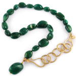 Emerald nugget beads and 18 karat gold
