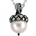 Freshwater pearl set in sterling silver. Acorn pendant